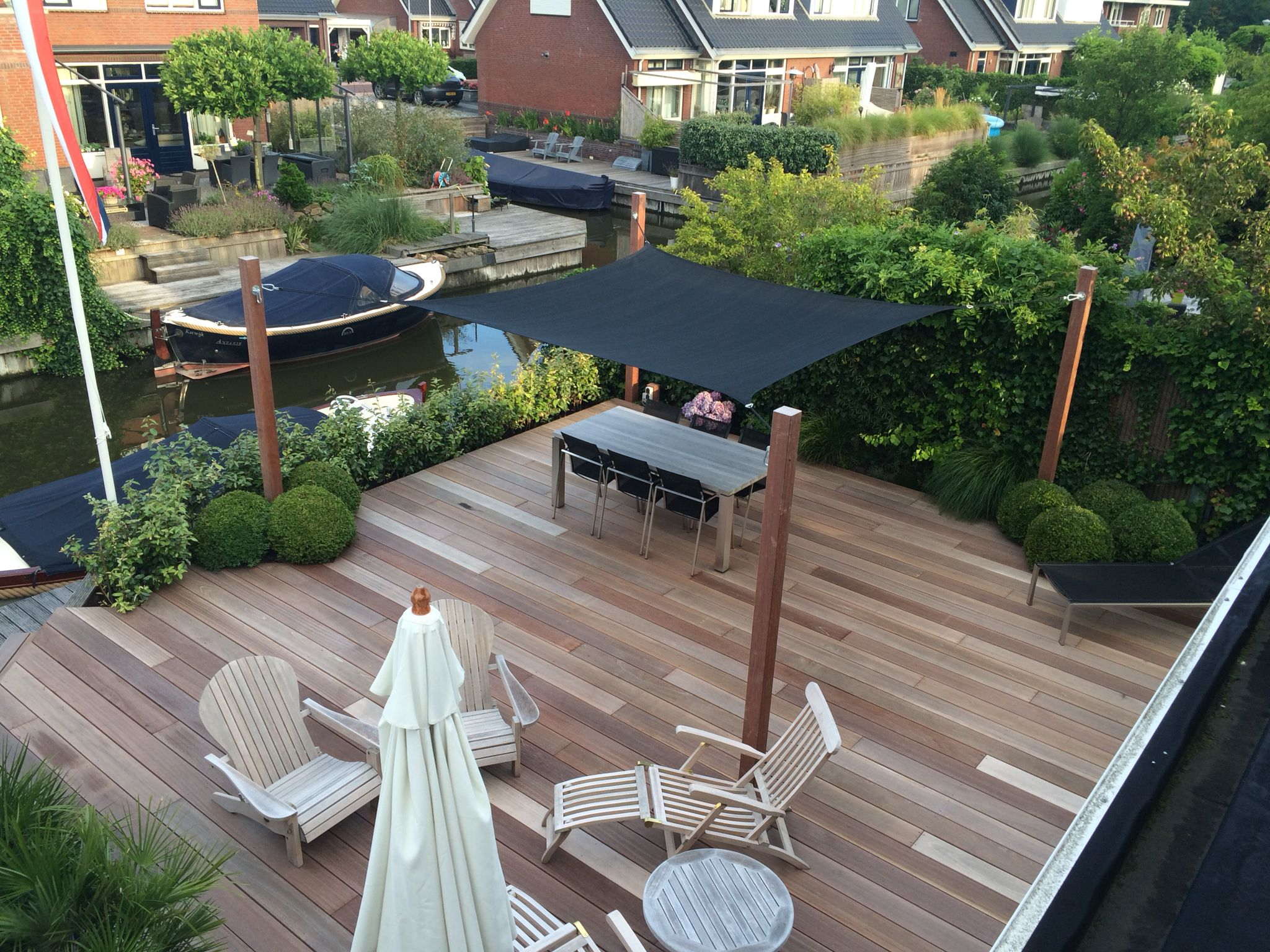 Tuin Ligstoel Terras Met Schaduwdoek Tuin Outdoor Decor Outdoor