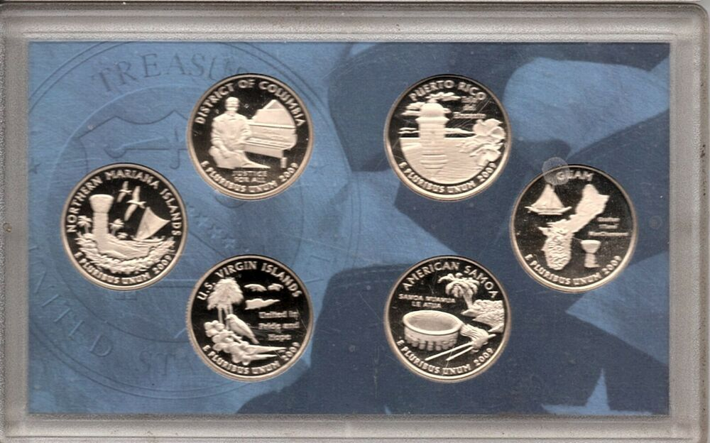 Quarter GEM Proof No Box or COA US Mint 2009 S District of Columbia and 5 US Territories Quarters Proof Set 6 coins