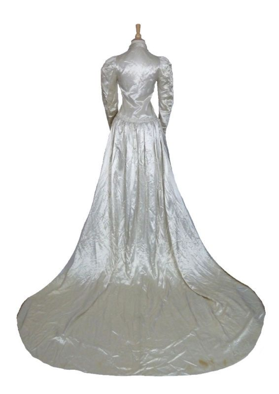 Details About Antique One Piece White Satin Wedding Gown W Long