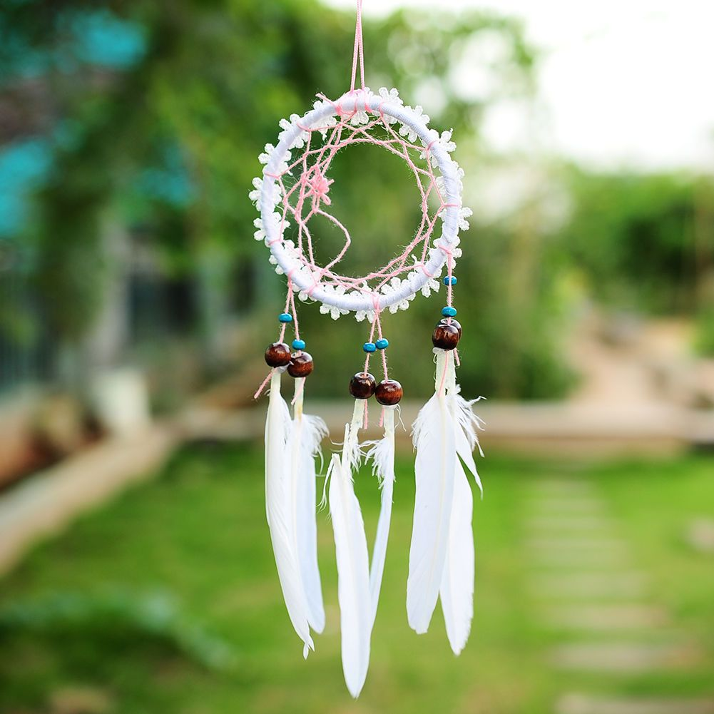 1.69 GBP - Mini White Flower Dream Catcher With Feathers Wall ...