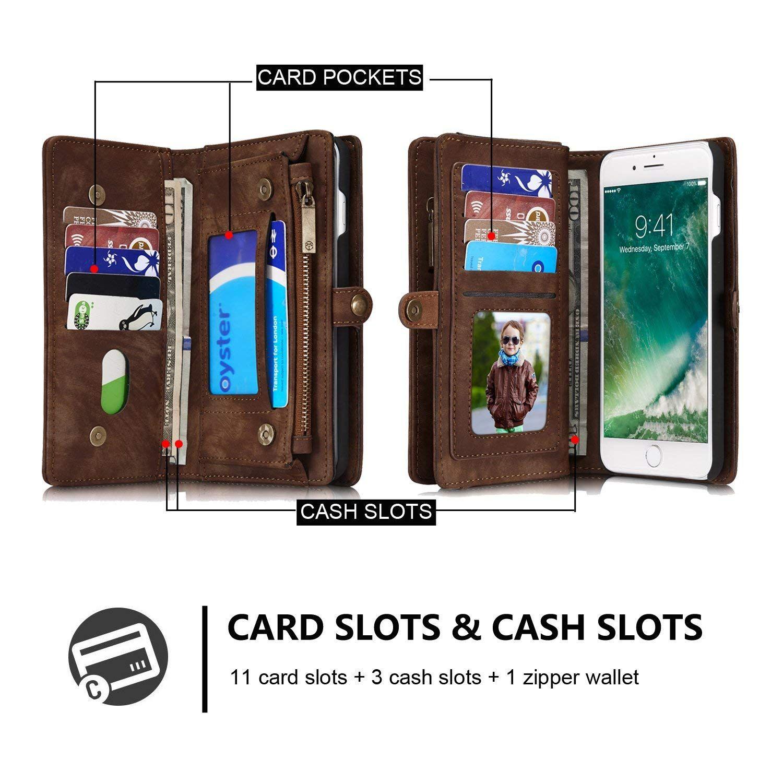 watch b448d e7e5d CaseMe iPhone 8 Plus Wallet Case Brown | CaseMe iPhone 8 Plus Case ...