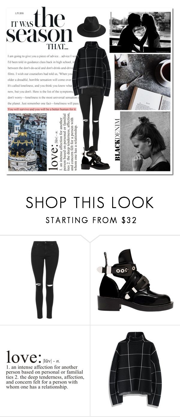 """B L A C K  D E N I M"" by annie-1696 ❤ liked on Polyvore featuring Topshop, Balenciaga, Chicwish, BeckSöndergaard, women's clothing, women, female, woman, misses and juniors"