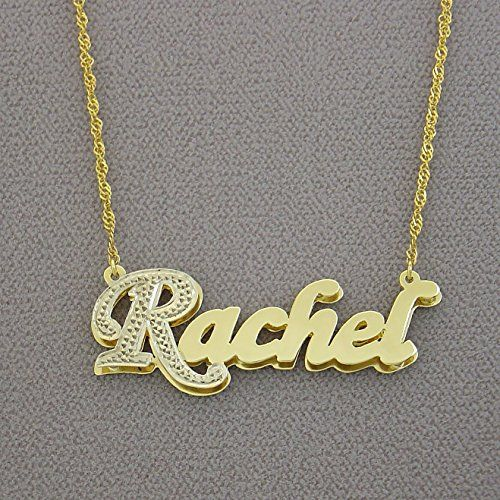 14k Yellow Gold Double Plates 3d Name Pendant Charm Personalized Jewelry Personalized Jewelry Pendants Charms Jewelry