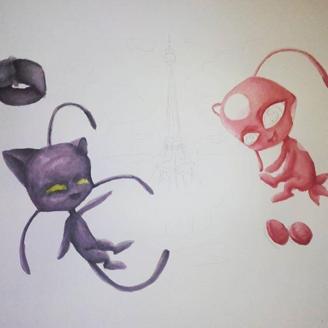 . #wip #fanart #miraculousladybug . I started to colorise with watercolors (normaly i dont draw with them i just have 4 xD) . #cutiepix #Cutiepixdesign #anime #manga #ladybug #sketch #skizze #drawing #doodle #art #catnoir #tikki #plagg #miraculous #kwami #kwamifanart #miraculouslb  #miraculouschatnoir #animedrawing #mangadrawing #animedraw #mangadraw #animeart #mangaart #miraculousart #miraculousfanart  #tikkixplagg