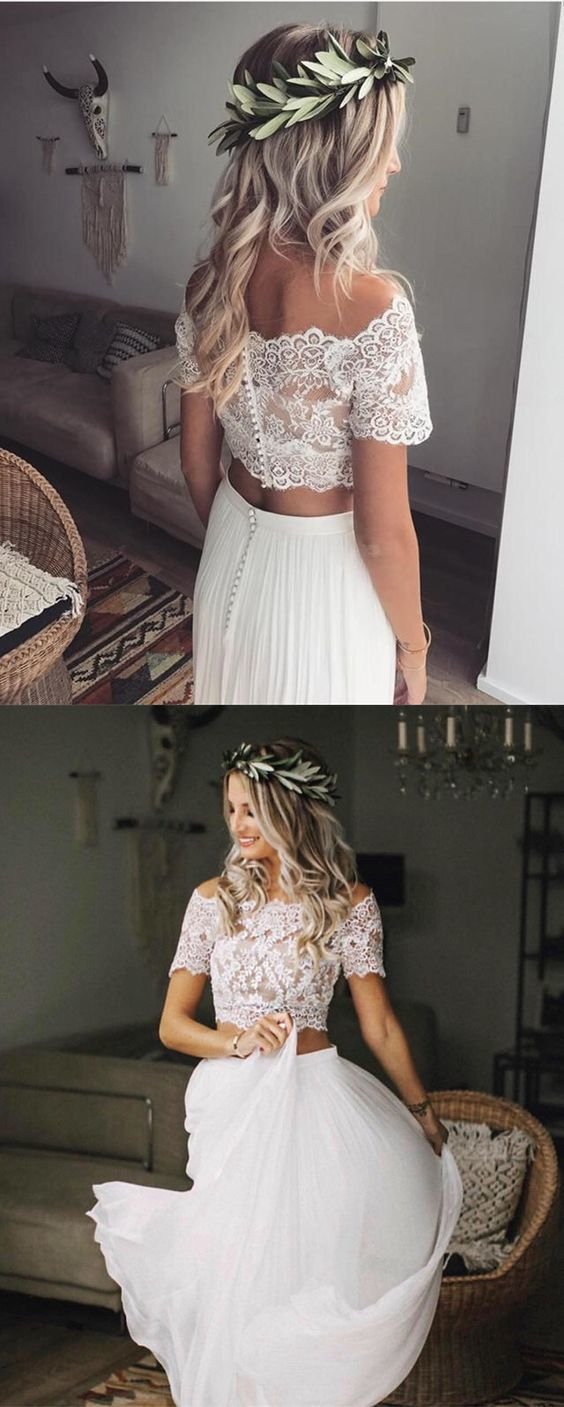 Photo of two piece wedding dresses boho lace crop gown for beach weddings   ML1771