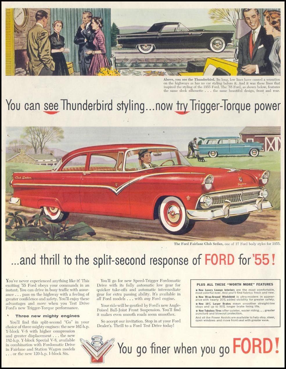 1955 Ford Fairlane Club Sedan Fordclassiccars Ford Fairlane