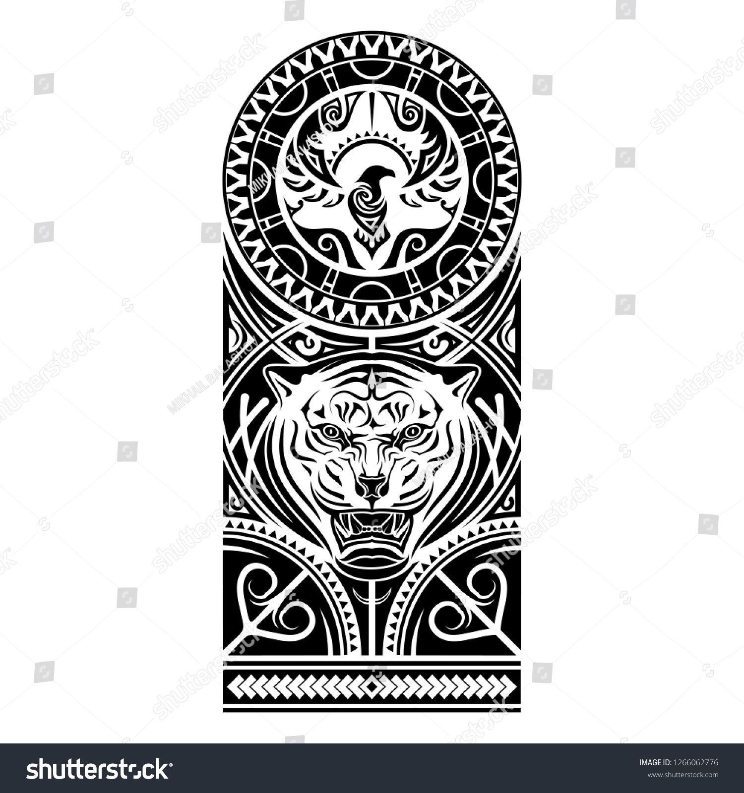 Vector Image Of The Stylized Bird And Tiger Polynesian Tattoo Patterns Of Maori Art Of Natives Of New Zealand Sun Tattoo Tribal Tribal Tattoos Maori Tattoo