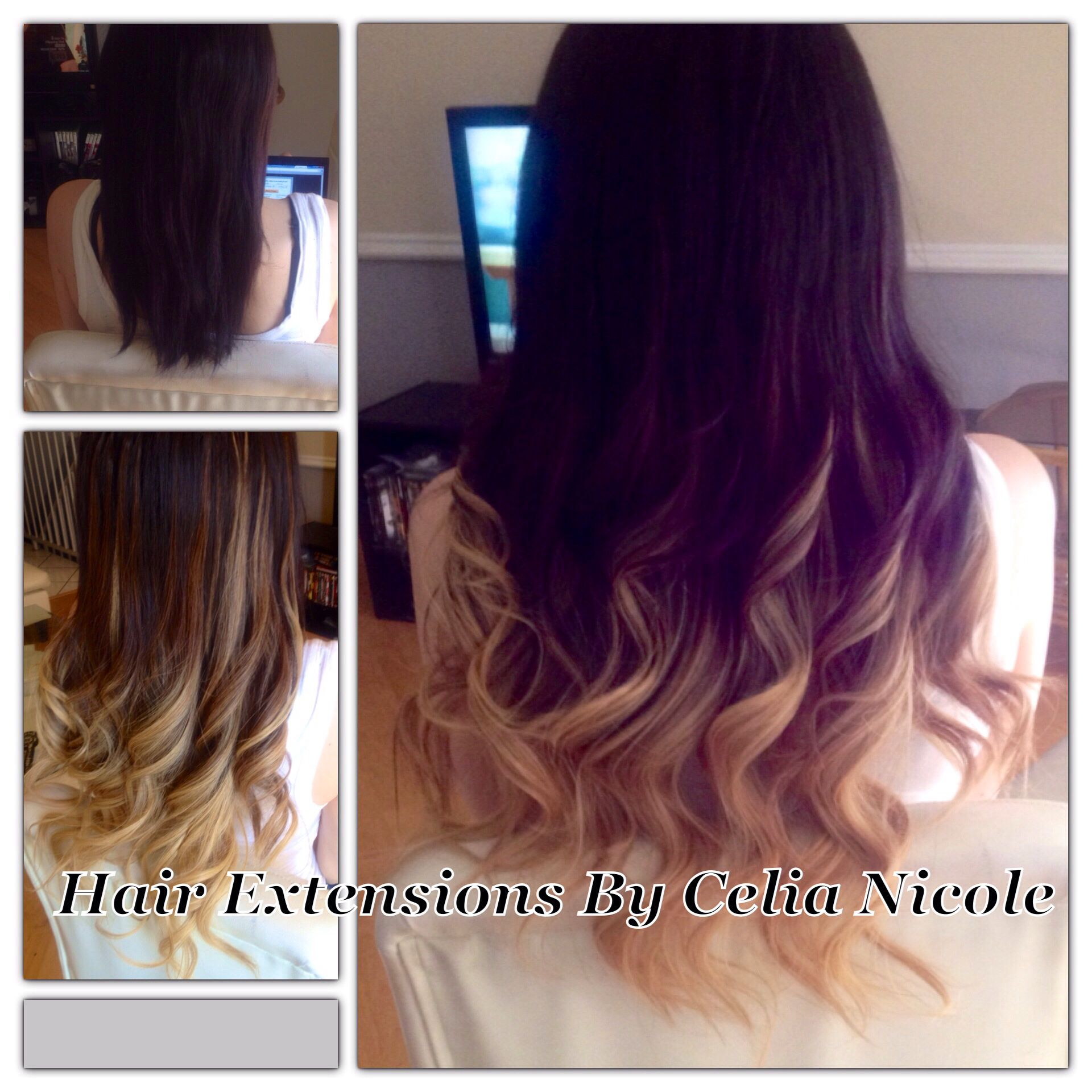 Beautiful Ombre Hair Extensions Dark Brown To Blonde 34 Head Of