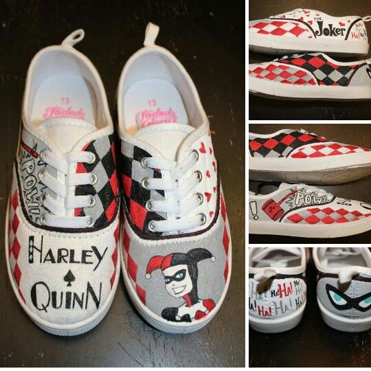 6cd6d67b41b9 Harley Quinn -custom hand painted shoes - visit my business page on FB to  order yours in ANY theme www.facebook.com loveleyni