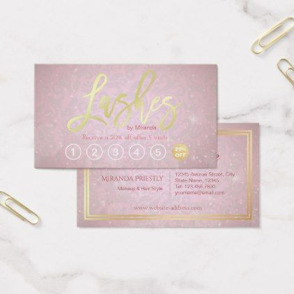 Lashes makeup artist gold script loyalty punch business card lashes makeup artist gold script loyalty punch business card makeup artist gifts style stylish unique reheart Image collections