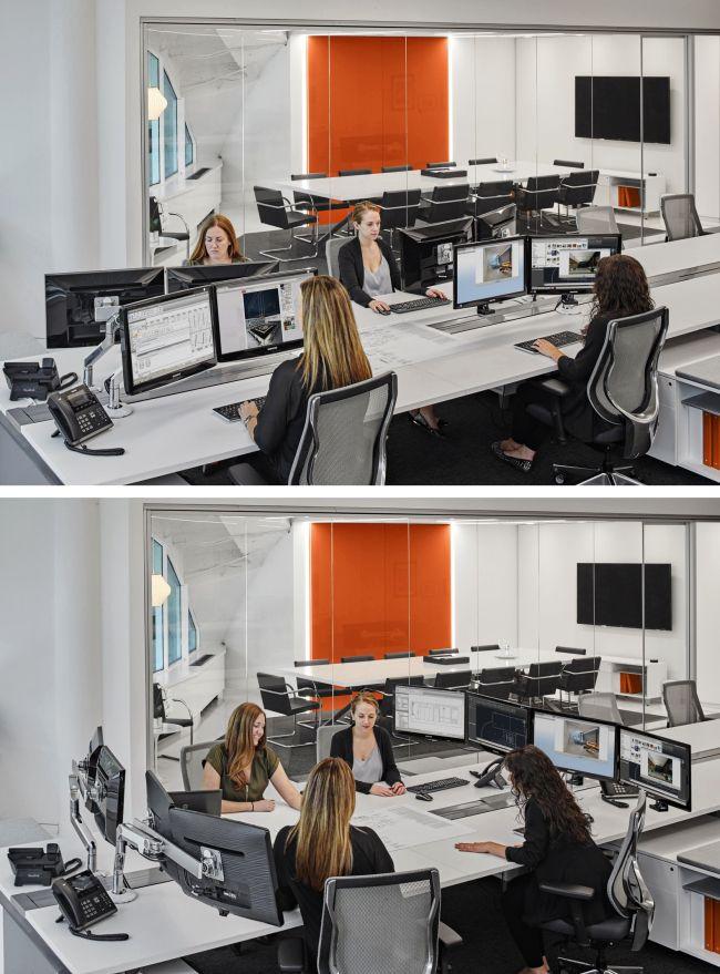 Дизайн интерьера офиса: 65 лучших фото со всего мира http://happymodern.ru/interer-ofisa/ Экономия пространства (и времени на перемещение по зданию): превращение рабочих столов в конференц-стол с помощью кронштейнов для компьютерных мониторов