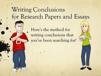 Writing: The Ultimate Guide to Writing Conclusions for Research Papers and Essays. 46-page eBook with colorful graphics for teens and young adults; is suitable for informative as well as persuasive research papers and essays. This PDF eBook guides students through the conclusion writing process and provides them with the Ultimate Conclusion Format to follow as they write their own. The sample conclusion included follows the Ultimate Conclusion Format and begins with a So What? topic sentence.