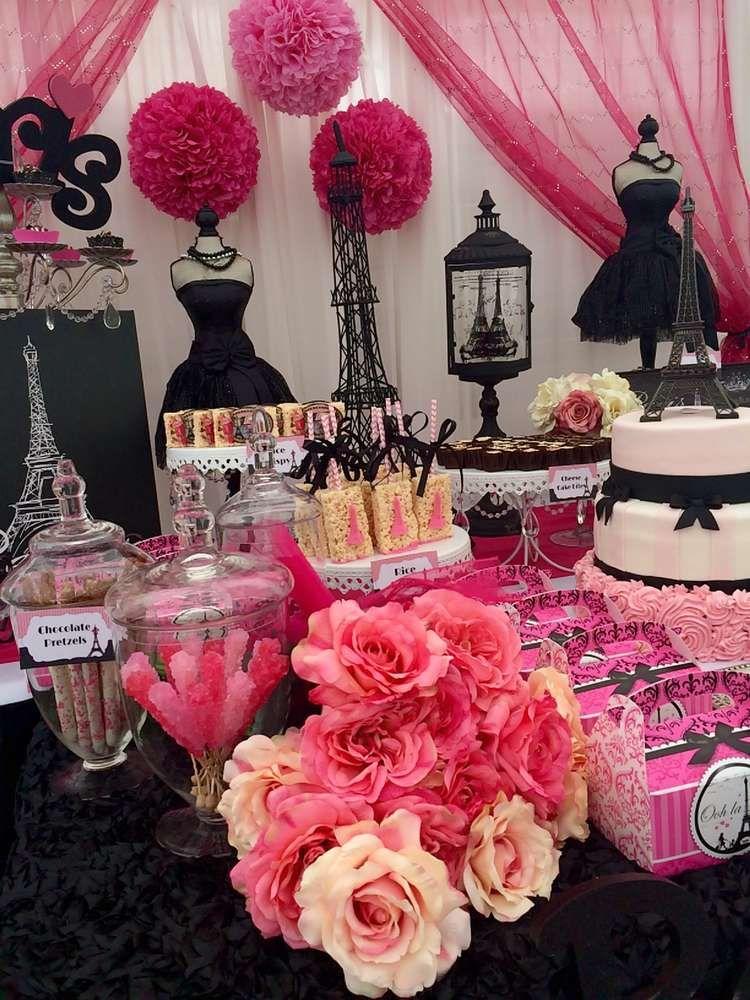 paris birthday party dessert table