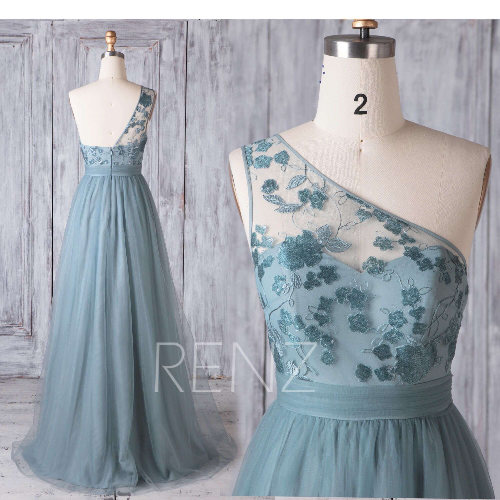 Bridesmaid Dress Dusty Blue Tulle Dress Wedding Dress One Shoulder Maxi Dress Illusion Lace Sweetheart Party Dress A-Line Prom Dress(HS625)