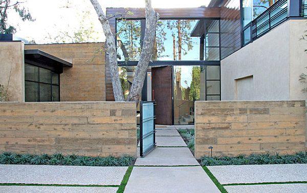Hauseingang Gestalten Beispiele vorgarten hauseingang gestalten beispiele holzmauer steinplatten