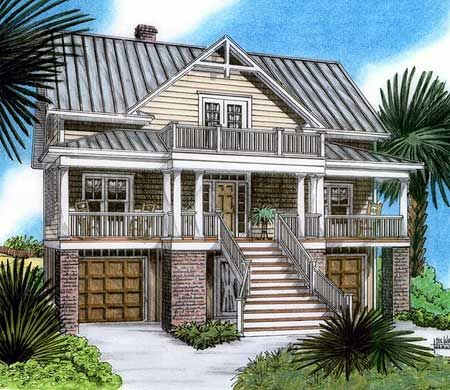 Plan 15019nc Raised Beach House Delight Beach House