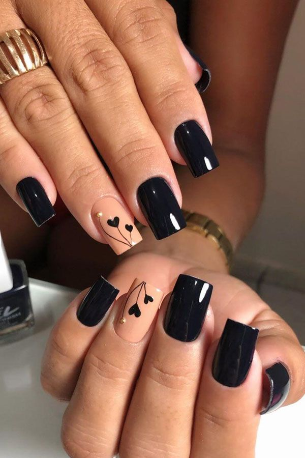 54 Elegant Black Nail Art Designs And Ideas Black Nail Designs Heart Nail Designs Nail Designs Valentines