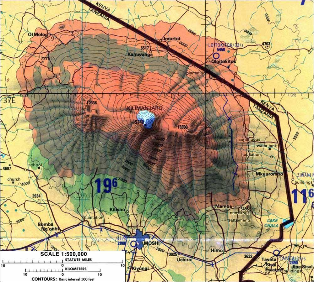 Kilimanjaro Africa Map Skiqc