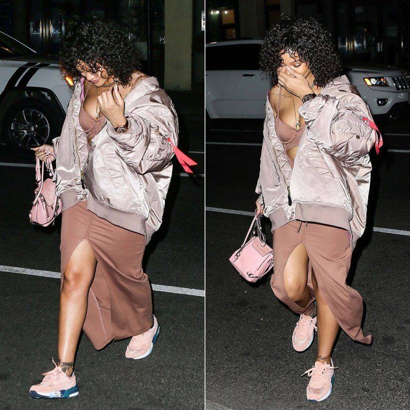 uk availability 94a6a 5c193 Rihanna Spotted in Pink Fenty x Puma Cutout Dress | Rihanna ...