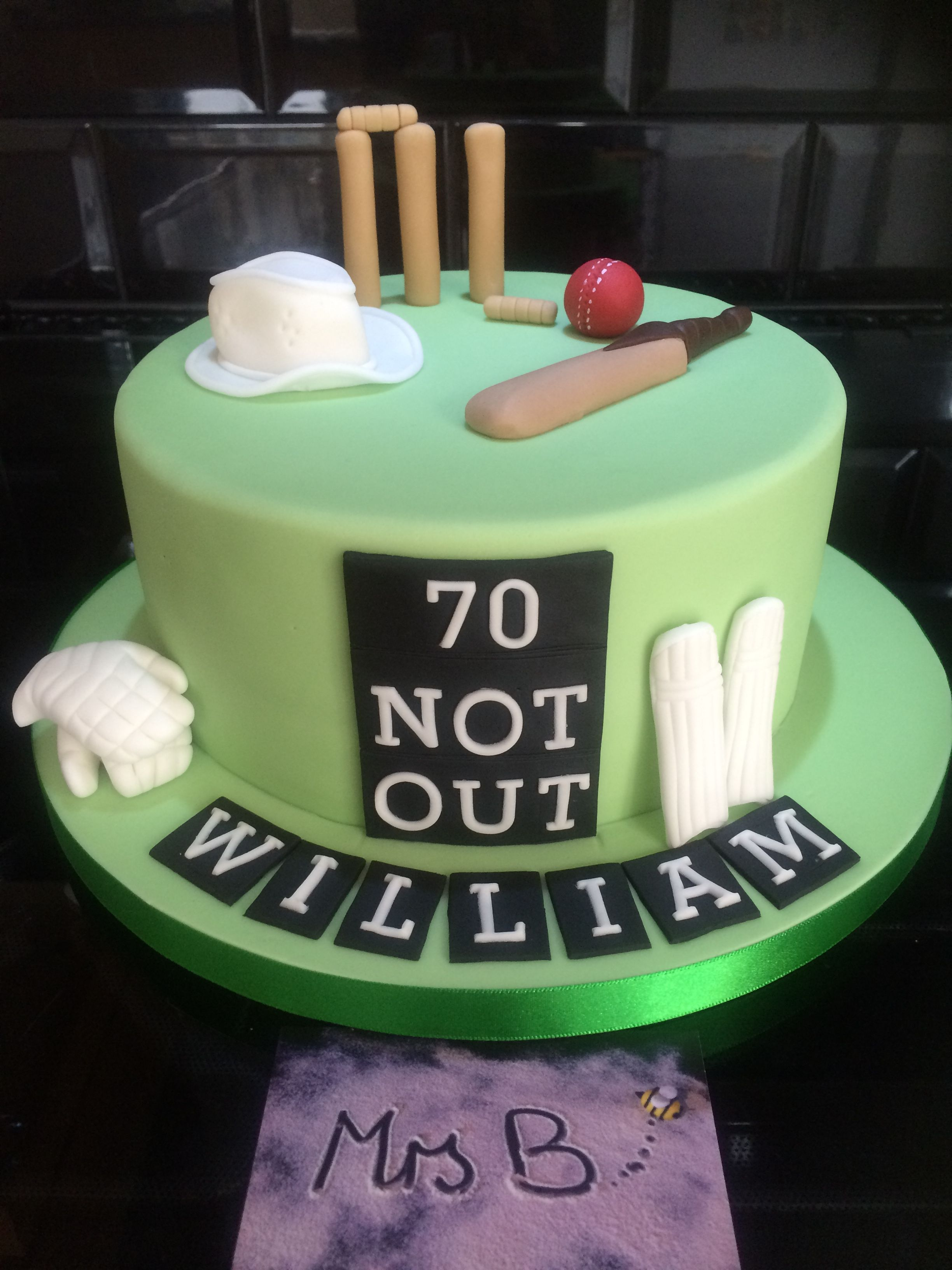 Cricket Themed Birthday Cake For 70 Year Old Entirely Handcrafted Edible 2016 By