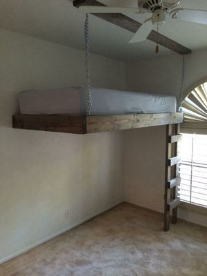 Full Size Custom Loft Bed Suspended Music Room Office