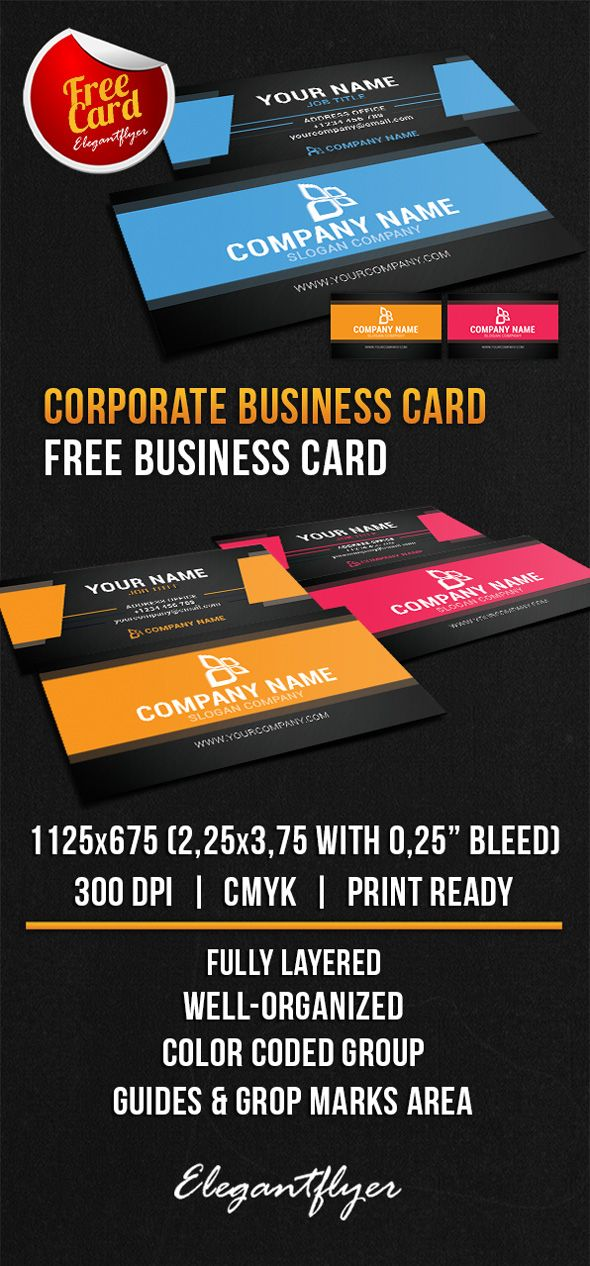 Corporate business card free psd template pinterest reheart Choice Image