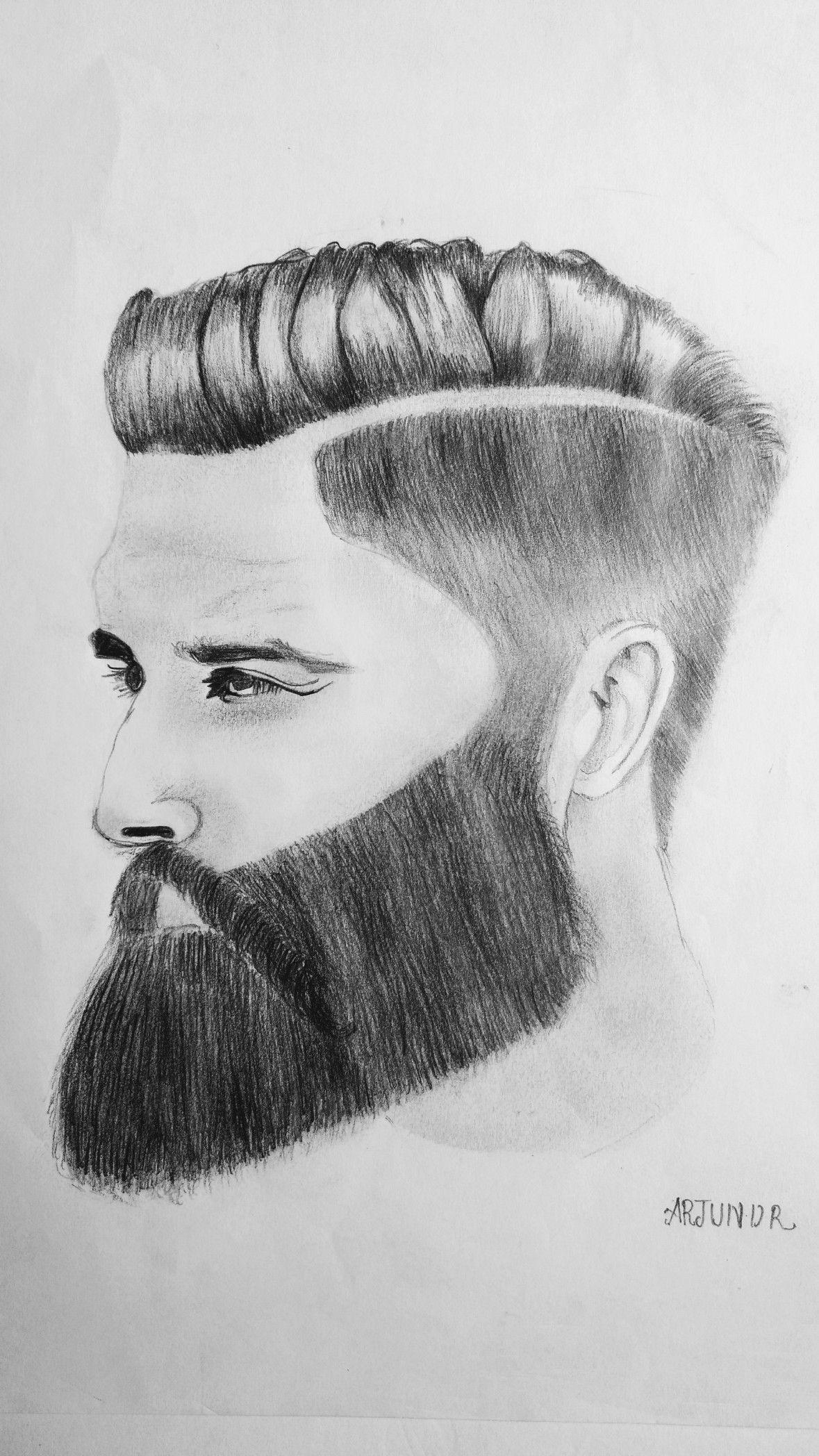 Man with beard pencil drawing