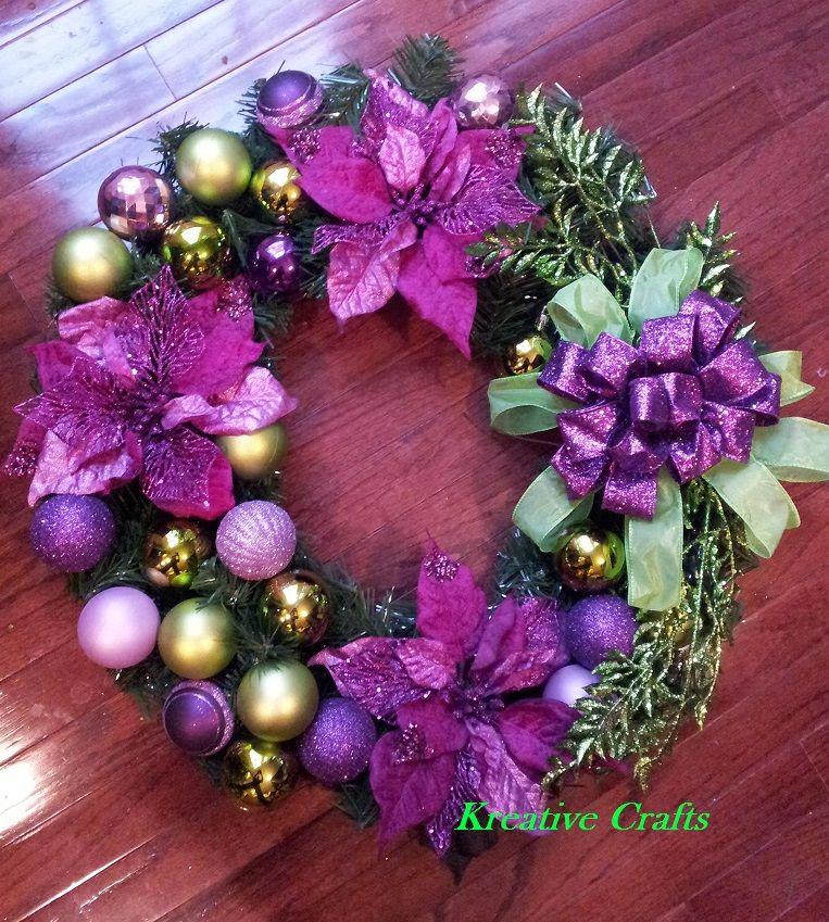 Green and Purple Christmas Wreath - bulbs, flowers and ribbon