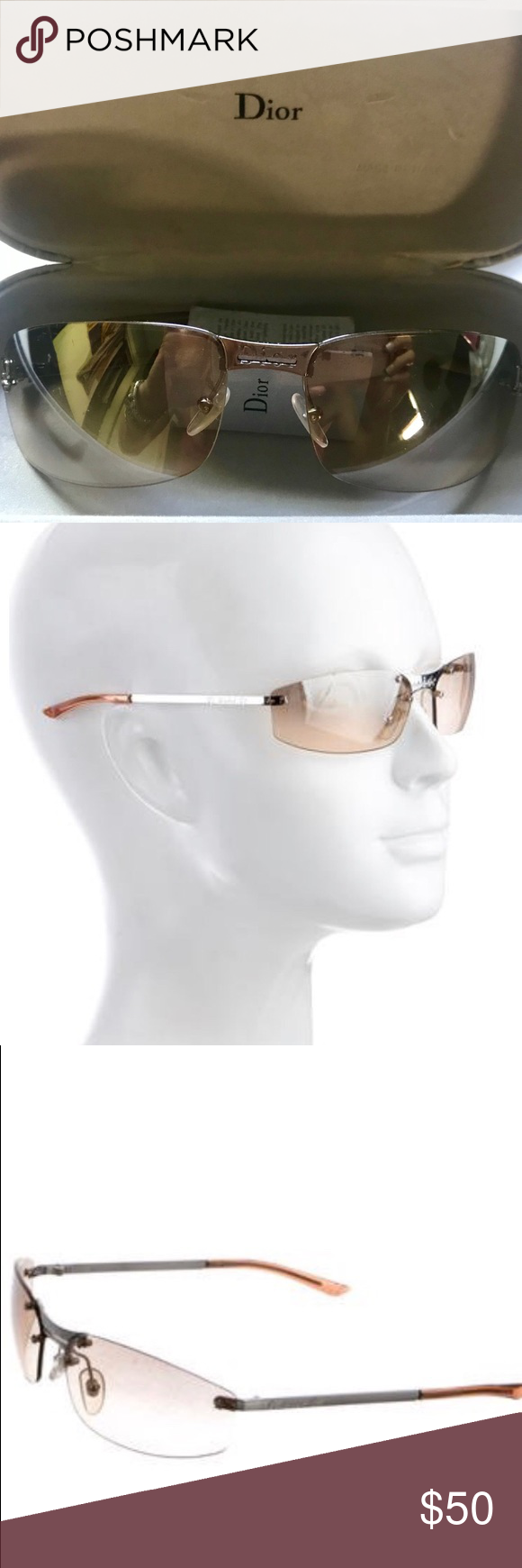 fab49c079ad0 These Christian Dior sunglasses have been loved... But they are Dior!  Frames and lenses show scratches and wear Arms are loose Material  Metal    Plastic ...