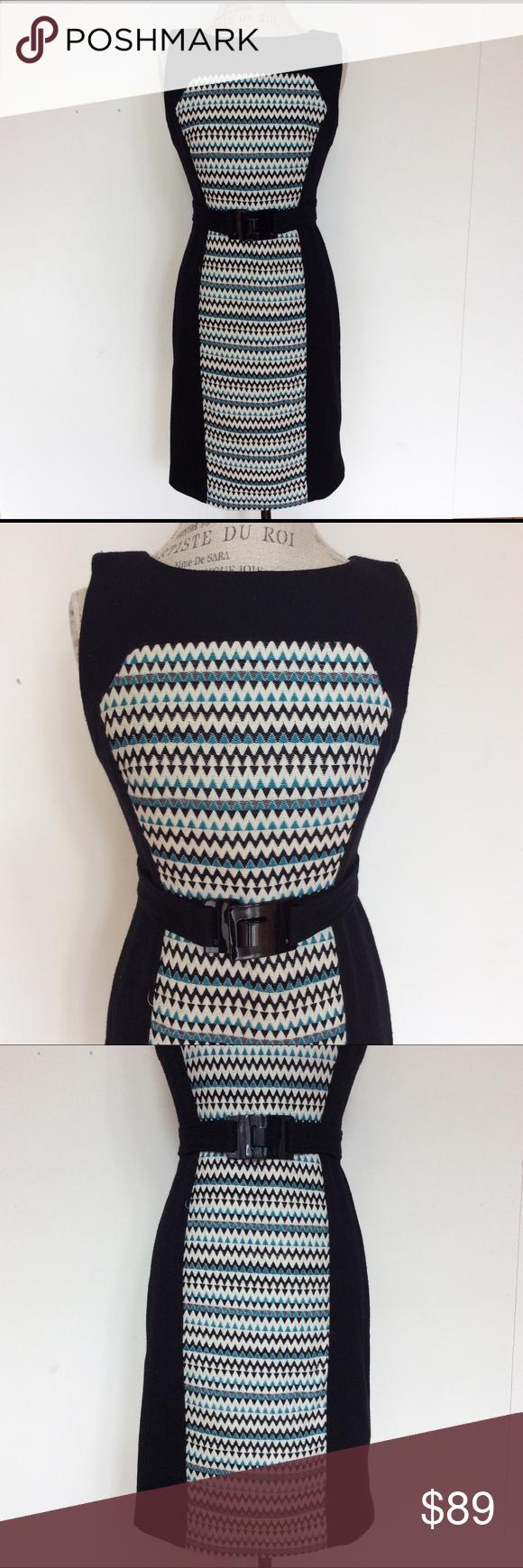 Milly blue black chevron wool long dress knit patterns wool and