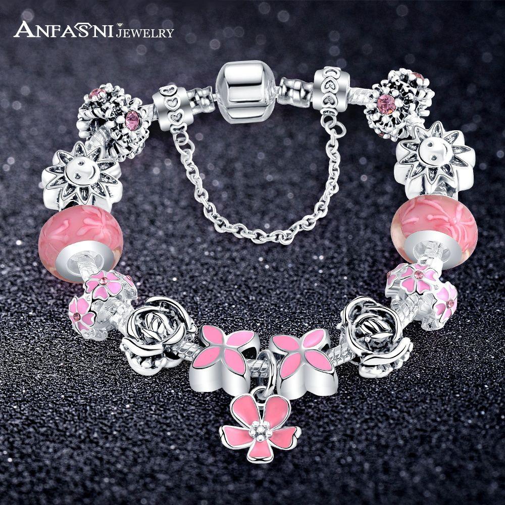 Vintage fashion style flower dangle charm bracelet girls women snake
