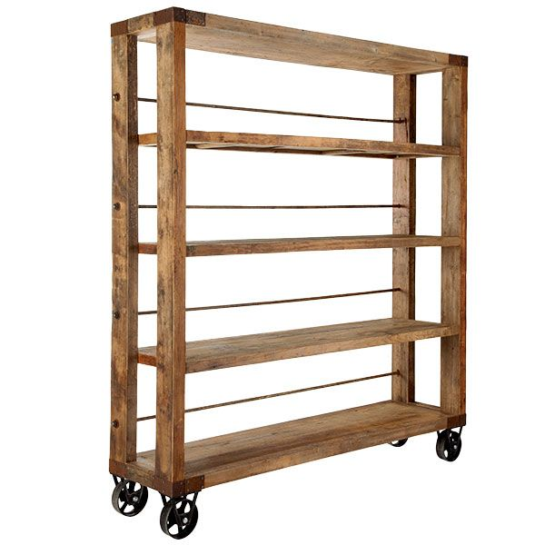Pallet Turned Tall Vertical Rolling Bookshelf