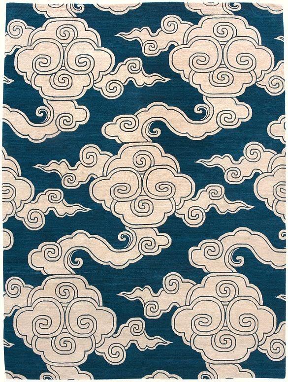 Illustration Papier Mural Motif De Nuages Style Chinois Bleu