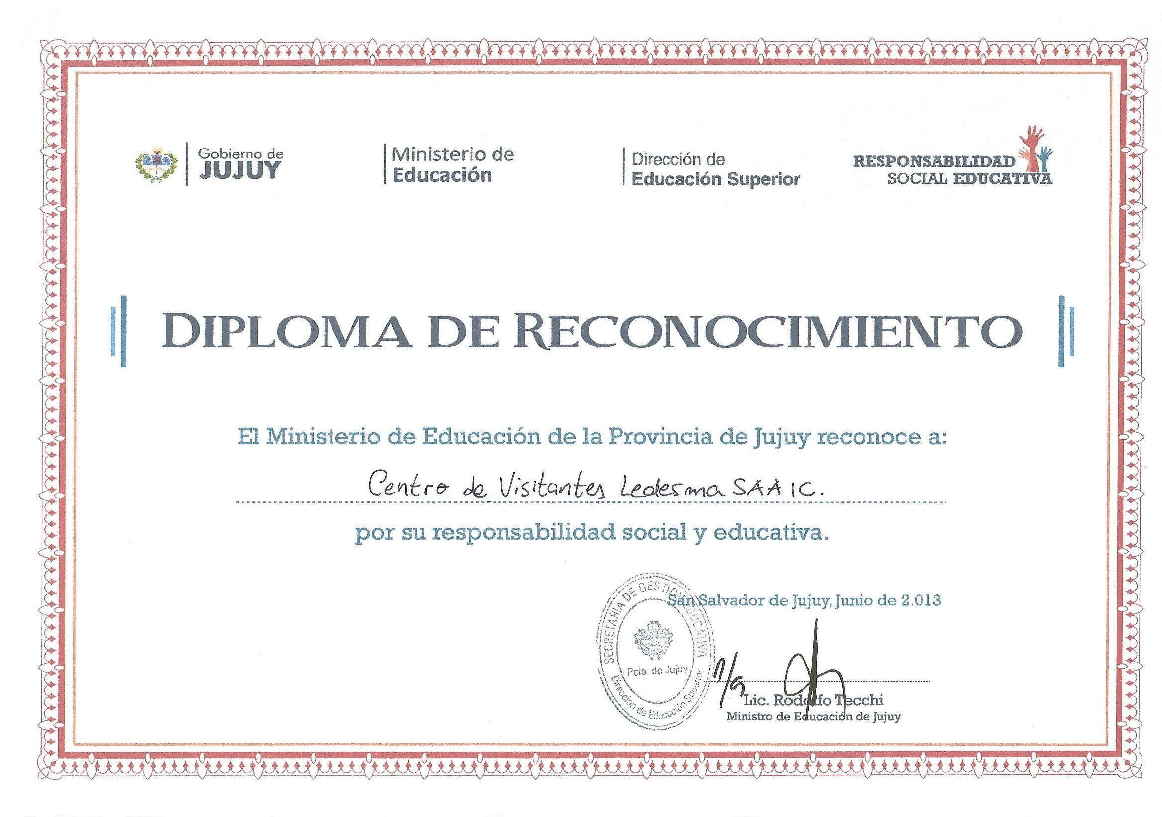 Diploma de reconocimiento otorgado al Centro de Visitantes por el ...
