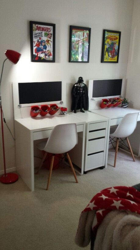 Our kid 39 s new study setup micke ikea desks with a bit of - Small office setup ideas ...