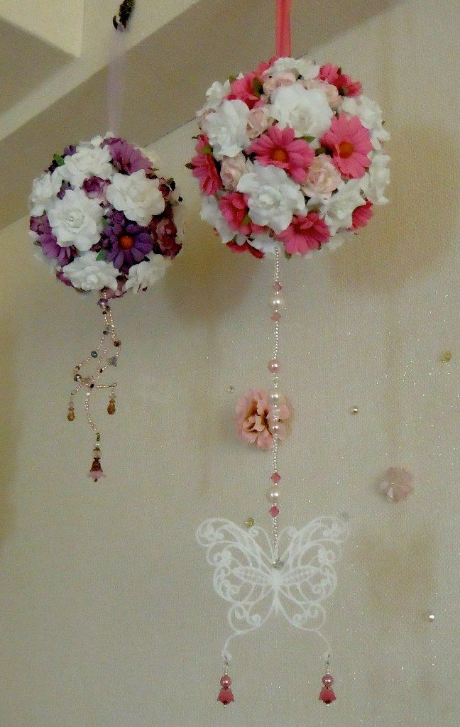 Hanging Silk Flower And Paper Flower Pomanders Decorated With