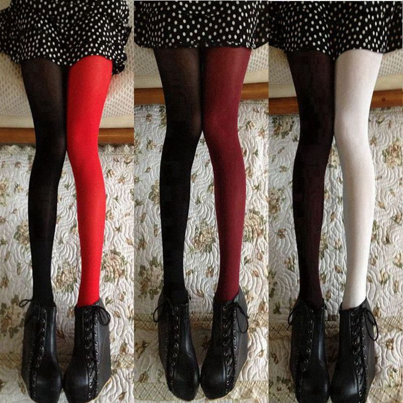 f797bd50c Women Spring Autumn 120D Tights Fashion Asymmetry Contrast Color Velvet  Pantyhose Lady Girls Sexy Stockings Japanese Tight