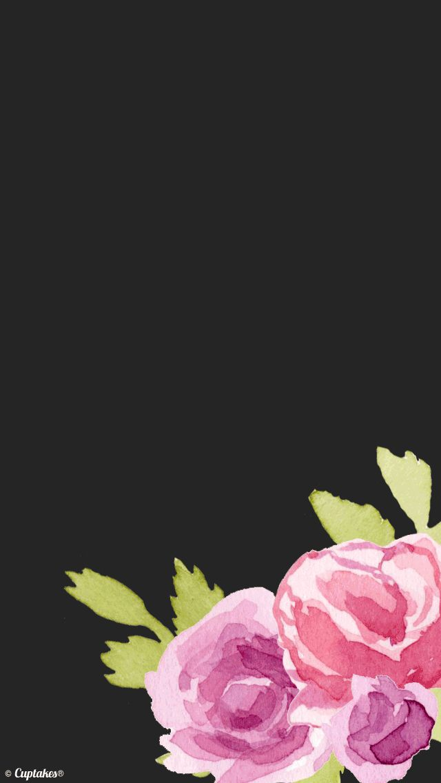 Black pink watercolour floral roses iphone background ...
