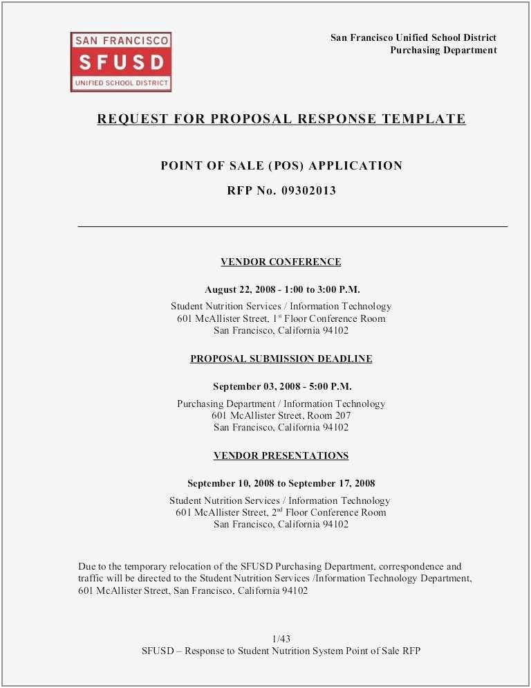 Short Form Rfp Sample Rfp Templates Request For Proposal