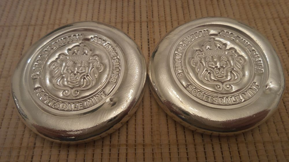 Lot Of 2 5oz Scottsdale Mint Silver Button 10 Troy Oz Total Round Silver Bullion Silver Buttons Bullion