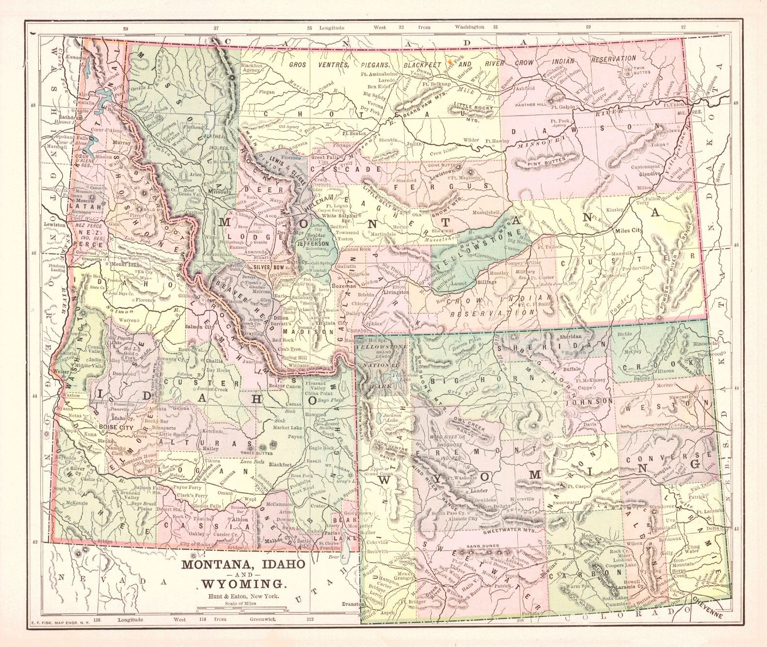 Map Antique Montana Idaho and Wyoming 1892 From The