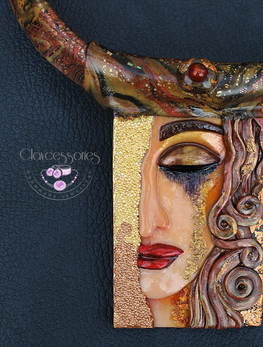 I Use Polymer Clay To Create Necklaces Inspired By Gustav Klimt Paintings is part of Klimt paintings, Gustav klimt, Klimt, Painting, Polymer clay, Polymer clay art - Beautiful necklaces made by under the impression by paintings of Gustav Klimt
