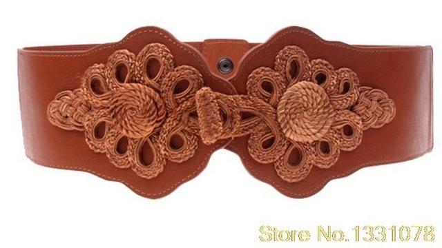 Hot European and American woven elastic butterfly buckle wide belt lady  girdle fashion Cummerbunds Female belts 8058bedabf0f