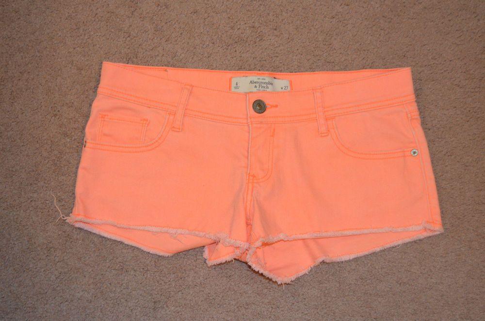 Abercrombie & Fitch Size 4 Neon Orange Fringe Shorts Brand New #AbercrombieFitch #MiniShortShorts