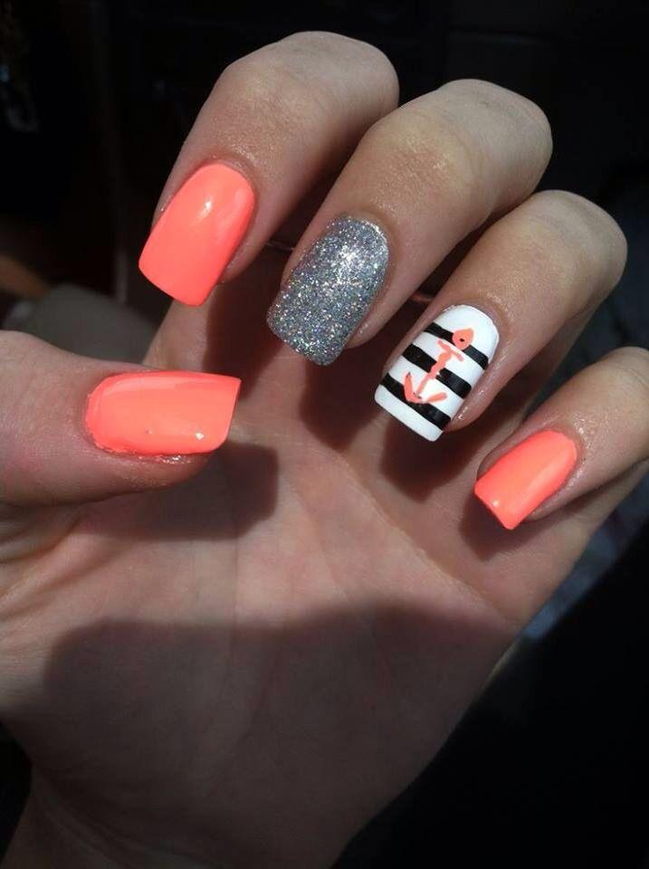 Nautical neon orange black white & silver! ⚓ | Nail Fashion ...
