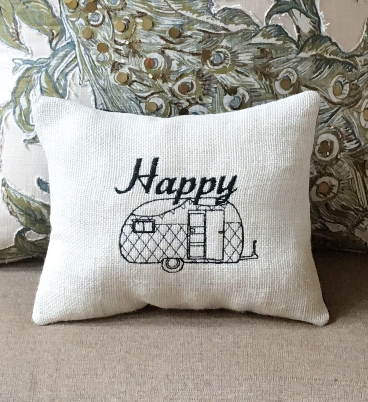 RV Decor Gift, Burlap Pillow, Happy Camper, Family Caravan Cushion ...