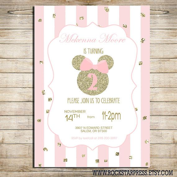 Minnie Mouse Birthday Party Invitation Pink And Gold Classy