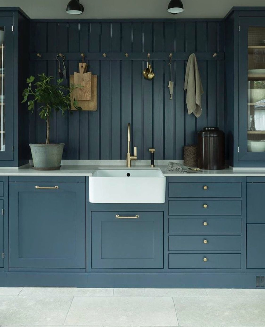 blue grey kitchen cabinetry and a farmhouse sink | Kitchens ...