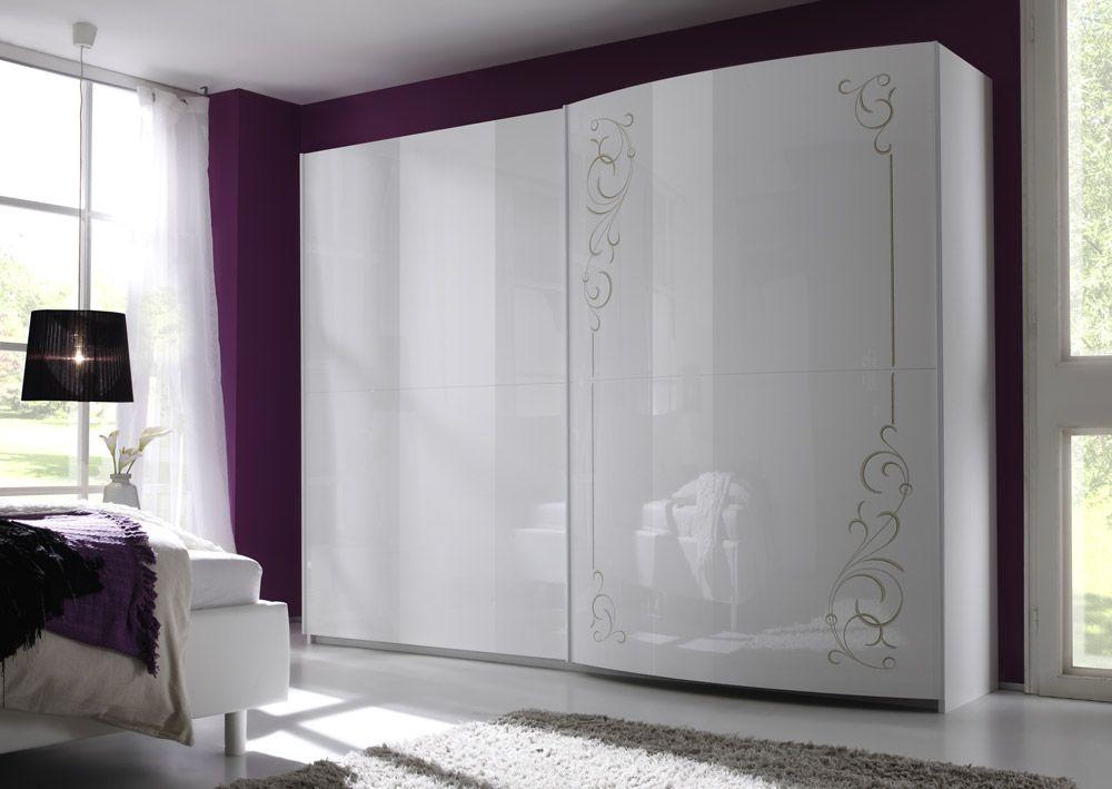 armadio scorrevole 2 ante bianco lucido curvo economico design ...