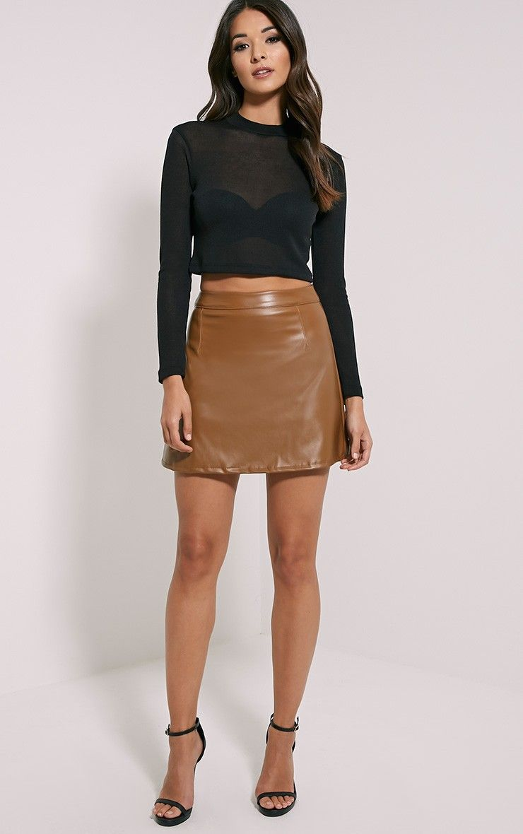 A Line Leather Mini Skirt